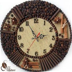 Decorating with coffee beans. 22 ideas - Just . - Decorating with coffee beans. 22 ideas – by yourself - Diy Arts And Crafts, Creative Crafts, Diy Crafts, Coffee Bean Art, Coffee Beans, Seed Art, Bone Crafts, Coffee Crafts, Diy Clock