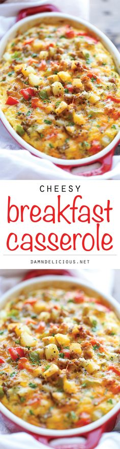 Cheesy Breakfast Casserole - The best and easiest make-ahead breakfast casserole loaded with sausage, potatoes and cheesy goodness!
