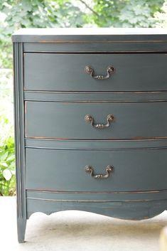 furniture Makeover Grey - Furniture Makeover Distressed Teal Vintage Double Dresser... #furnitureMakeover #Grey