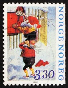 Norway, One Elf Holding Other on Shoulders to Mail Letters, Christmas, ca 1992