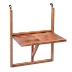 Patio Folding Table Balcony Rail Mounted Rest Table Wooden Portable Furniture