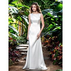 Sheath/Column Bateau Sweep/Brush Train Stretch Satin Wedding Dress (710744) – EUR € 57.41