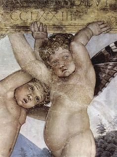 Detail, Putti acting as caryatids, from 'Camera degli Sposi' by Italian painter Andrea Mantegna Frescoed room. via wikimedia Italian Painters, Italian Artist, Andrea Mantegna, Renaissance Paintings, Italian Renaissance, Father And Son, Beautiful Artwork, Great Artists, Fresco