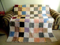 Vintage Antique Handmade Quilt 1930's Block Cutter Quilt Depression Era Feed Sac | eBay