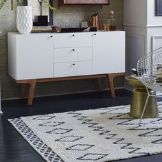 Inspired by traditional Moroccan rugs, the artful Kasbah Rug is handcrafted from New Zealand wool. Luxe and soft underfoot, it would be ideal in a bedroom or living room. As a Fair Trade Certified™ product, this rug supports better living Small Study Table, Painted Furniture, Bedroom Furniture, West Elm Rug, Basement Inspiration, Modern Dresser, Modern Area Rugs, Contemporary Rugs, Eclectic Decor