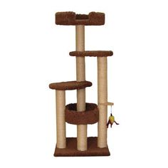 """Family Cat 55"""" Three Post Cat Tree Color: Coco Brown"""