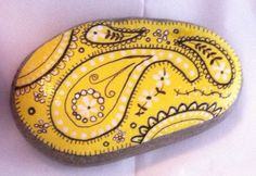 Hand-painted, one-of-a-kind Happy Rock - Yellow Bandana. This beautiful one-of-a-kind river rock was found on the banks of the Oconuluftee