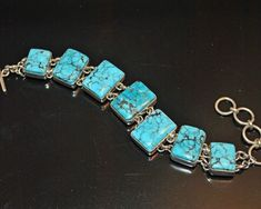 This is a gorgeous high quality handcrafted sterling silver and turquoise links bracelet by Navajo artisan Bryant Martinez. This fabulous bracelet features seven rectangular panels of sterling silver bezels set with top grade Arizona Kingman turquoise and linked together with handmade sterling silver links. | eBay!