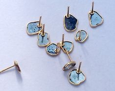 Blue Slice Rough Diamond Studs Diamond Slice by gemsforjewels