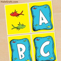 dr seuss fish banner FREE Printable Dr. Seuss Fish Alphabet Banner Pack