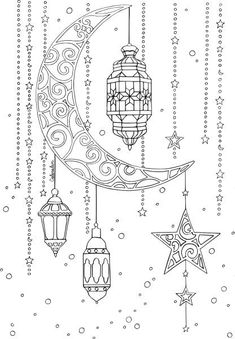 lune lanterne ramadan Why don't you consider seeing a camp which is plain but is Eid Crafts, Ramadan Crafts, Ramadan For Kids, Coloring Book Pages, Coloring Sheets, Decoraciones Ramadan, Ramadan Activities, Islamic Art, Doodle Art