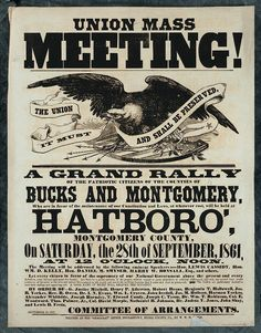 "Civil War poster seeking ""Patriotic Citizens"" to attend ""a Grand Rally"" in Hatboro, PA on Saturday, Sept. 28, 1861."