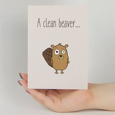 A Clean Beaver Funny Greeting Card MemoryTag Greeting Cards #americangreetings #Art #Card
