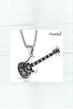 Rock N Roll Guitar Necklace Pendant Cool Biker Music Stainless Steel