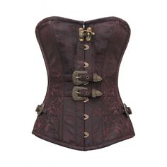 CD-746 - Coffee and Black Brocade Steampunk Style Overbust - $97.00