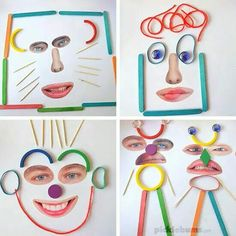 Make these crazy faces with some loose parts and our free printable facial features! We love loose parts play! Make some crazy faces with loose parts and our free printable facial features! All About Me Preschool, Preschool Crafts, All About Me Eyfs, Kids Crafts, Arts And Crafts, Learning Activities, Preschool Activities, Family Activities, Playdough To Plato