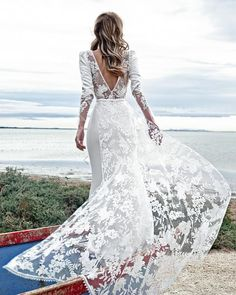 18 Absolutely Gorgeous Destination Wedding Dresses ❤ destination wedding dresses sheath v back with long sleeves lace fabienne alagama #weddingforward #wedding #bride