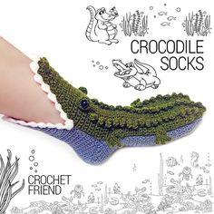 Crocodile Slippers Socks by Crochet Friend / Funny Warm Home Shoes / Adult size . - Crocodile Slippers Socks by Crochet Friend / Funny Warm Home Shoes / Adult size … Crocodile Sli - Cute Crochet, Crochet Crafts, Yarn Crafts, Knit Crochet, Funny Crochet, Crochet Mandala, Crochet Afghans, Crochet Blankets, Crochet Granny