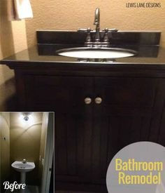 We recently did a bathroom remodel. Here are the before and after pictures of how the bathroom remodel project turned out. Sink, Vanity, Bathroom, Projects, Blog, Design, Home Decor, Sink Tops, Dressing Tables