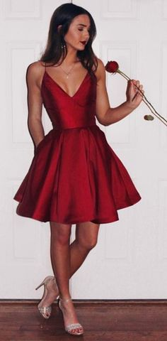 Short A Line Homecoming Dress,V Neck Party Dress,Red Spaghetti Strap Party Dress,Short Prom Dress