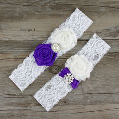 White and Purple Lace Flower Bridal Pearl and Rhinestone decoration Wedding Garters