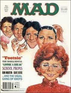 Mad magazine, July 1983 — Tootsie starring Dustin Hoffman parody