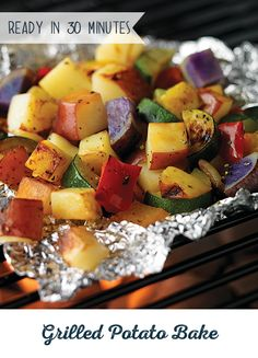 Give your side dish a serious dose of color! This delicious Grilled Potato Bake combines yellow, white, purple and russet potatoes with your other favorite vegetables for a side dish no one can resist. Just add your favorite protein and make it a meal made for summer.