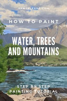 In this painting tutorial I will show you the process of how to paint, water, trees and mountains, all in the one painting. This painting features water, trees and mountains which are three great subjects to include in a landscape painting. Acrylic Painting Lessons, Acrylic Painting Techniques, Oil Painting Abstract, Artist Painting, Painting Trees On Canvas, Oil Painting Tutorials, Watercolor Painting, Watercolor Tips, Knife Painting