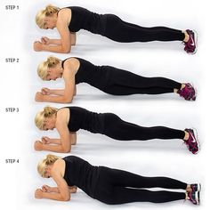 Plank Hip Twists: Really keep that core tight by pressing the belly button inward!