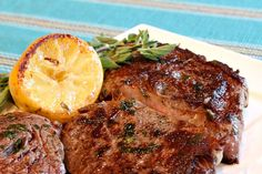 Recipe for Pan Fried Lemon Garlic Rib Eye Steaks. Photographs and many tips for making the perfect steak included.