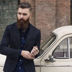 Levi Stocke being dapper - full thick beard and mustache beards bearded man men mens' style suit dressy hair hairstyle model handsome #goodhair #sharpdressedman #beardsforever