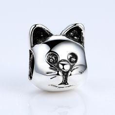 BAMOER 18K Gold Plated Lovely Cat Animal Pattern Beads Fit Pandora Bracelets DIY Accessories Gifts