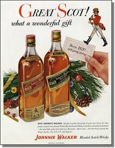 1953 Johnnie Walker Black Red Whisky Christmas Ad |