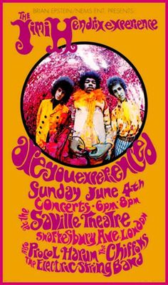 Jimi hendrix concert poster 1960's - I was just remembering him today, saw both Jimi and Santana at a concert here in San Diego when they were both starting out!
