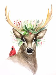 Out, Christmas deer - ?All Decked Out, Christmas deer - ?Decked Out, Christmas deer - ?All Decked Out, Christmas deer - ? Watercolor Christmas Cards, Christmas Drawing, Christmas Paintings, Watercolor Cards, Watercolor Print, Watercolor Paintings, Christmas Artwork, Deer Paintings, Xmas Drawing