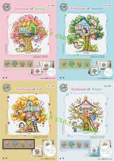 Four seasons Tree House Sodastitch 4 Patterns by GeniesCrossstitch on Etsy
