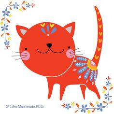 F is for flowery cat @ Gina Maldonado 2015 #folkart #cat #cute