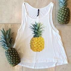 """2X HP Pineapple tank  Summer preview and girly girl host pick! Super cute and looks great over a bralette or swimwear. Available in grey or white. Made in USA. 95% rayon 5% spandex. I'm 5'5"""" modeling a small. No trades. Price is firm. **Medium is available in gray only** Tops Tank Tops"""