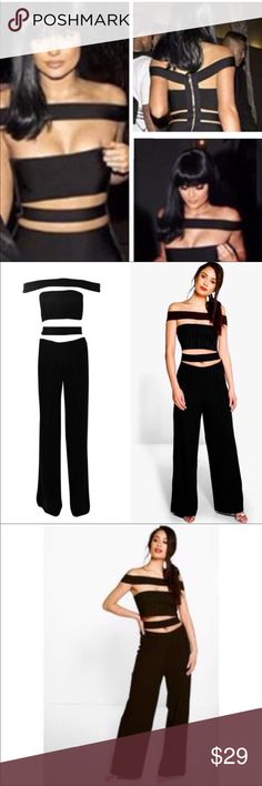 """NWT Kylie Jenner Style """"FIONA"""" Jumpsuit NWT BOOHOO """"Fiona"""" Bardot Jumpsuit. Brand new with tags strappy bardot jumpsuit from Boohoo. Color black. Ribbed fabric. Pinstriped, all black. Plenty of stretch. This strapless, over the shoulder playsuit will have you turning heads. Wide leg pant. Perfect condition. As seen on Kylie Jenner! (Other tags - Khloe kim kendall kourtney kardashian dash) If you love these brands: 🌸 fashion nova 🌸 missguided 🌸 nasty gal 🌸 tobi 🌸 topshop 🌸 house of cb…"""