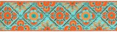 """1 1/2"""" Turquoise & Orange Fabric Trim.  Has two matching trims one 2 1/2"""" and one 1"""".  It also comes in five color combinations.  The quality is just stunning."""