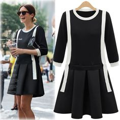 Plus Size Women Dresses Casual Contrast Color Autumn Dress Half Sleeve O-neck Mini False Two-piece Patchwork Knitted Dress