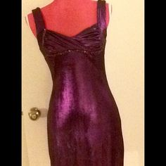 Maggie Barry Cocktail Dress Size S Beautiful Purple cocktail dress. Gathered and bejeweled in the bust area. This dress is from a major film studio wardrobe department. Dresses