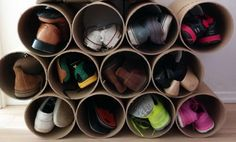 http://removeandreplace.com/2014/06/10/super-easy-diy-shoe-storage-rack-made-from-cardboard-tubes/