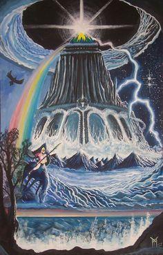 ASGARD-O primeiro dos três mundos do universo nórdico.É o reino dos deuses.  Em Asgard está situada Valhalla,o palácio dos guerreiros mortos em batalha. Também em uma região de Asgard está Vanaheim,a terra dos Vanir e Alfheim, a terra dos Elfos Luminosos.Em Asgard estão também os palácios de cada um dos deuses, como também Gladsheim, o grande santuário na Planície de Ida.