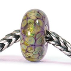 Purple Flower Mosaic Glass Bead