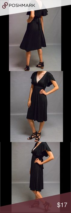 LUX Black Flutter sleeve dress Size S Great condition!! Black flutter sleeved dress by LUX. Size L, but fits like a small. Scoop back and low neckline makes for the perfect date night outfit if paired with some chunky sandal heels. :) photos provided are of actual item being sold. Questions welcome ! Lux Dresses Midi