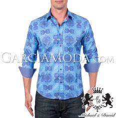 Camisa Michael & David Luxury Menswear MD-734-Blue