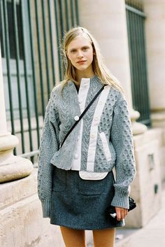 Wool sweater and a mini for an everyday casual look.
