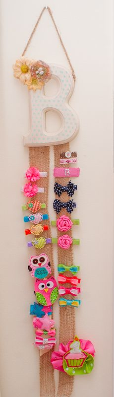 Baby Girl Barrette Holder - get a wooden letter from the craft store, decorate, then add burlap ribbon. #DIY
