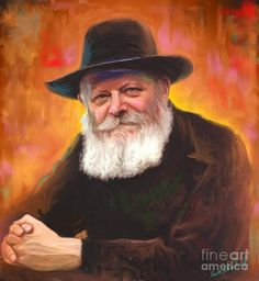 """Lubavitcher Rebbe Painting  - Lubavitcher Rebbe Fine Art Print """"If you did things right, celebrate that you have a G‑d who appreciates your good work. And if you fell on your face, celebrate that you have a G‑d who does not abandon you when you fall."""" Mendel M. Schneerson, of Righteous Memory"""